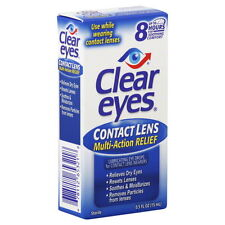 Clear Eyes Contact Lens Relief Drops - 0.5 oz  (3 PACK) + Makeup Sponge