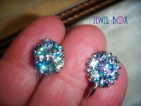 EARLIER VINTAGE RAINBOW IRIS CRYSTAL RHINESTONE FLOWER  Art Deco SCREW EARRINGS