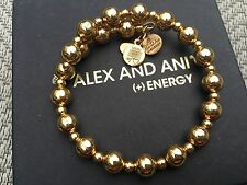 NEW RARE ALEX and ANI SHINY Yellow GOLD CRETE Beaded WRAP BRACELET