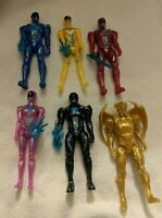 """Saban's Mighty Morphin Power Rangers Movie 5"""" Action Figure Lot + Weapons Goldar"""