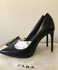Zara High Heel Black Metallic Court Shoes Stiletto Pointed Toes 6 39