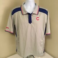 Stitches Mens Chicago Cubs Polo Shirt Gray Blue Red XL MLB Free Shipping