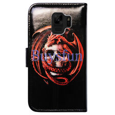 Bocov Skull Dragon Card Slot Leather Wallet Cover Case For Samsung Galaxy S9