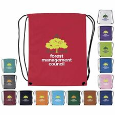 100 Promotional Polyester Drawstring Backpack Printed with your Logo or Message