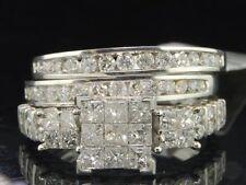 3 Piece Diamante Set Nupcial Oro Blanco Princesa Anillo de Bodas Compromiso