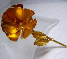 Vintage Signed Original by Robert Gold Tone 3-Dimensional FLOWER ROSE Pin Brooch