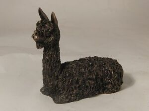 Frith Sculpture ALPACA SITTING by VERONICA BALLAN in cold cast bronze - VB011