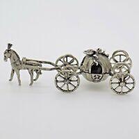 Vintage Plata Maciza Italiano Hecho Cenicienta Carro Figura Estampado Miniatura