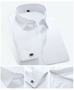 Mens Shirts French Cuff Formal Business Work Button Down Silk Cotton Dress Shirt