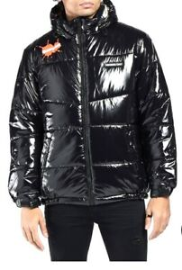 Members Only x Nickelodeon Men's Shiny Puffer Jacket Black - Small Medium Large