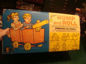 super rare Kenner's ROMP and ROLL FUNiture on wheels in box, STYROFOAM -- 1964 -