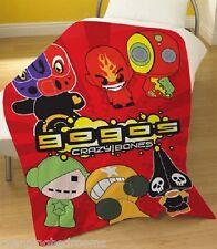 GOGO S CRAZY BONES KIDS  LICENSED  SOFT FLEECE RED THROW BLANKET 125cm  x 150cm
