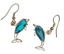 Dolphin Fashionable Earrings - Fish Hook - Abalone Blue Paua Shell