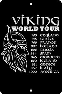 Viking World Tour, Home Sign, Home Decor Metal Aluminum, USA, Black