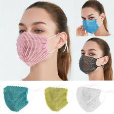 2 x Glitter Rhinestone Fashion Bling Mesh Face Nose Mask Washable Reusable Cover