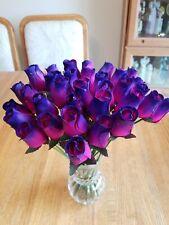 3 DOZEN - HOT PINK /PURPLE WOODEN ROSE BUDS 5 X 8 ARTIFICIAL FLOWERS