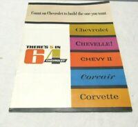"Original 1964 Chevrolet ""There's 5 in 64"" Sales Brochure Chevy Corvette Chevelle"