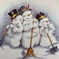 Vintage Greeting Card Christmas Mid Century Sleepy Snowman With Shovels Broom