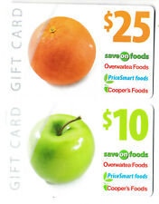 gift cards SAVE ON FOOD OVERWARTEA FOODS COOPER'S collectible card orange apple