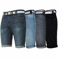APT Mens Denim Shorts Slim Fit Casual Summer Belted Half Pants All Waist Sizes