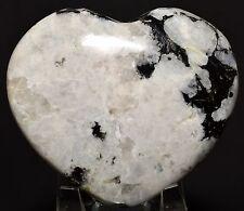 "2.9"" Rainbow Moonstone w/ Black Tourmaline Puffy Heart Feldspar Crystal - India"