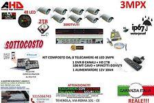 KIT VIDEOSORVEGLIANZA AHD DVR 8 CANALI + 8 TELECAMERE 3MP 48 LED + HARD DISK 2TB