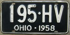 1958 OHIO LICENSE PLATE # 195-HV (1) SINGLE PLATE