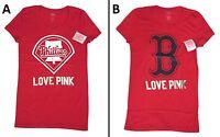 1 BRAND NEW VICTORIA SECRET PINK MLB T-SHIRT PHILLIES, RED SOX SIZE S, L BNWT