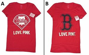 1 BRAND NEW VICTORIA SECRET PINK MLB T-SHIRT PHILLIES, RED SOX SIZE S, L BNWT