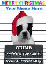 French Bulldog Christmas PIDZ134 A5 Xmas Greeting Card Personalised Mum Dad