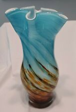 """Contemporary Hand Made Blue & Amber Art Glass Vase by hqt Home Design 12"""" tall"""