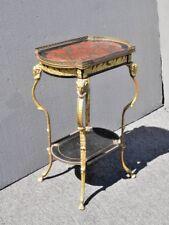Vintage Brass Rams Head Directoire Gueridon Occasional Table w Hoof Feet