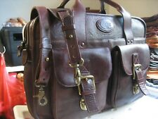 vintage Fossil Brown saddle Leather Laptop Messenger Briefcase Authentic