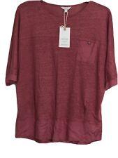 Monsoon ladies dusky pink 100% Linen Top.UK M.contrast fabric trim RRP £39