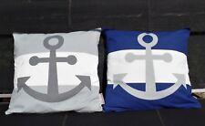Krasilnikoff Maritimer Kissenbezug Streifen Grau od.Blau mit Anker Baumw.50x50cm