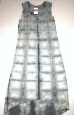 FRESH PRODUCE Large Charcoal Gray BLOCK TILE Hi Lo Staple Tank MAXI Dress NWT L