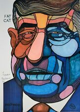 "Ferdie Pacheco Signed Print ""Fat Cat Howard"" Howard Cosell"