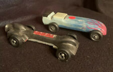 VINTAGE WOODEN TOY DERBY RACE CARS (2) With Bonus Pinewood Derby Medal