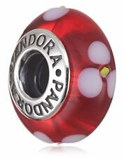 100% Genuino PANDORA, Flores Rojas encanto de cristal de Murano 790622 discontinuado