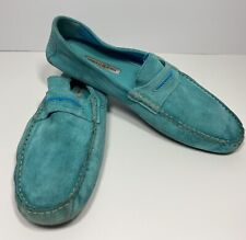 Manolo Blahnik Blue Suede Driving Loafers Shoes Men EUR 43/ US 11 Slip On