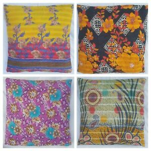 Vintage Kantha Embroidered Floor Pillow Ethnic Reversible Cushion Cover 60X60cm