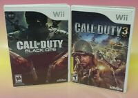 Call of Duty 3 + Black Ops - Nintendo Wii Wii U Game Lot Complete Working Tested