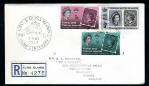 Turks and Caicos Islands - 1966 Stamp Centenary Registered First Day Cover