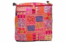 """Indian Vintage Patchwork Moroccan Seat Stool Ottoman Pouf Pillow Cover 16X16"""""""