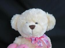 BIG BEST MADE TOYS SOFT CREAM TEDDY BEAR SATIN BOW OF THE ME HEART PLUSH 18""