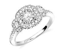 0.68 Carat Natural Round Cut Diamond Halo Engagement Ring In 14K White Gold