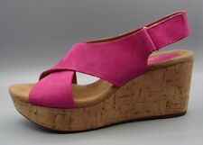 """CASLYNN CHAE ""Clark's Women's/Ladies FUCHSIA Leather Sandals size 4.5 D."