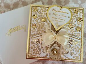 Large Luxury 8x8 Personalised Handmade,Wedding, Golden Anniversary Card and box
