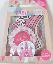 GIRLS PRINCESS PARTY PACK FOR 10 GUESTS NEW M&S BADGE INVITIATIONS CROWNS BAGS