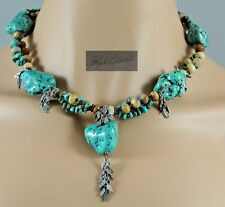 NEW Bohemian Ethnic Chunky Nugget Turquoise with Jasper & Copper Necklace 18.5""